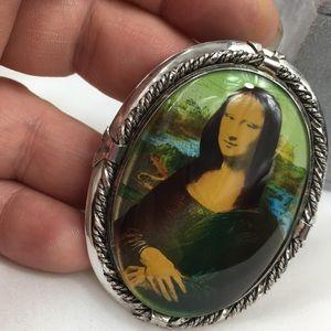 Vintage Jewelry - Vintage Sterling Silver Rhodium Mona Lisa Brooch